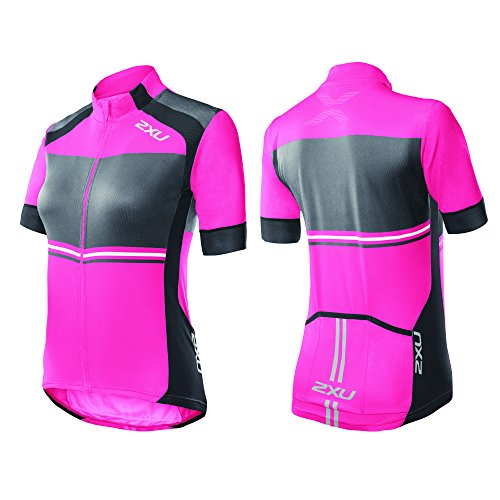 2 x u Damen Sublimated Cycle Jersey, Damen, Synthetic Pink/Charcoal von 2XU