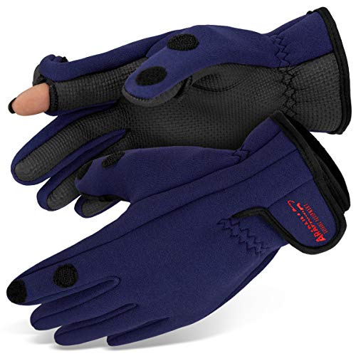 Neopren Angelhandschuhe 'Spin' | Arapaima Fishing Equipment® Thermo Angel Handschuhe | Anglerhandschuhe | Fishing Gloves - Navy - M von ARAPAIMA FISHING EQUIPMENT