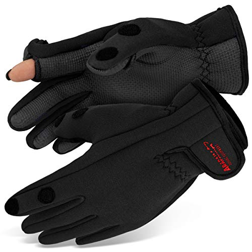Neopren Angelhandschuhe 'Spin' | Arapaima Fishing Equipment® Thermo Angel Handschuhe | Anglerhandschuhe | Fishing Gloves - Schwarz - XXL von ARAPAIMA FISHING EQUIPMENT