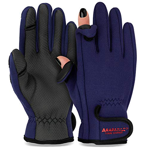Thermo Angelhandschuhe 'Spin' | Neopren Angel Handschuhe | Anglerhandschuhe | Fishing Gloves - Navy - M von ARAPAIMA FISHING EQUIPMENT