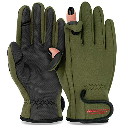 Thermo Angelhandschuhe 'Spin' | Neopren Angel Handschuhe | Anglerhandschuhe | Fishing Gloves - Oliv - XXL von ARAPAIMA FISHING EQUIPMENT