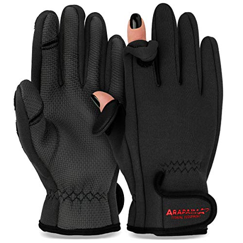 Thermo Angelhandschuhe 'Spin' | Neopren Angel Handschuhe | Anglerhandschuhe | Fishing Gloves - Schwarz - M von ARAPAIMA FISHING EQUIPMENT