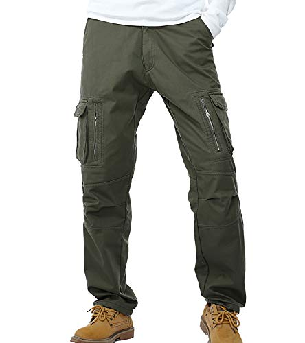AYG Velour Hose Warm Herren Cargo Pants(army green,31) von AYG