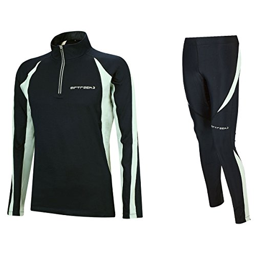 Airtracks Winter Funktions Laufset/Thermo Laufhose Lang Pro + Thermo Laufshirt Langarm Pro - schwarz - S - Herren von Airtracks