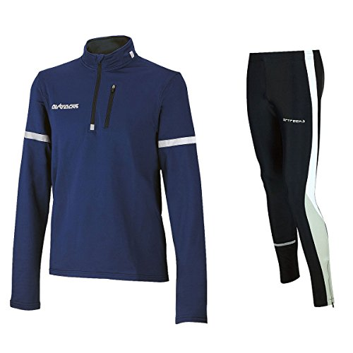 Airtracks Winter Funktions Laufset Pro / Thermo Laufhose Lang + Thermo Shirt Langarm - blau - S von Airtracks