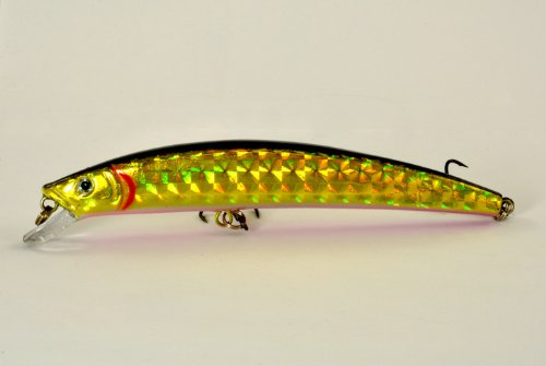 Akuna Crawler Serie Minnow Kunstköder 13,3 cm, Holographic Golden Shiner, Three of One Color von Akuna