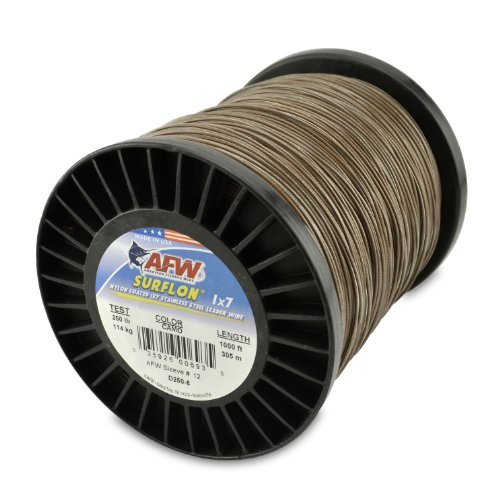 American Fishing Draht Surflon Nylon beschichtet 1x7 Edelstahl Vorfachdraht, Camo Brown, 30 Feet, 20 Pound Test von American Fishing Wire