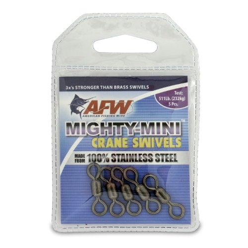 American Fishing Wire Mighty Mini Crane Wirbel (100% Edelstahl), schwarz, 5 Pieces, 411 Pound Test von American Fishing Wire