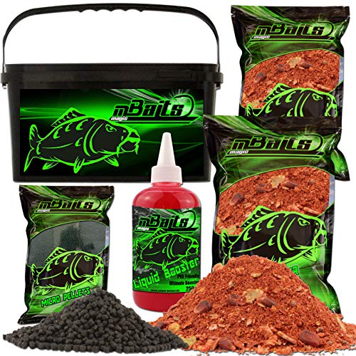 Angel-Berger Magic Baits Futterset mit Eimer Angelfutter Groundbait Liquid Pellets (Big Fish Feeder) von Angel-Berger