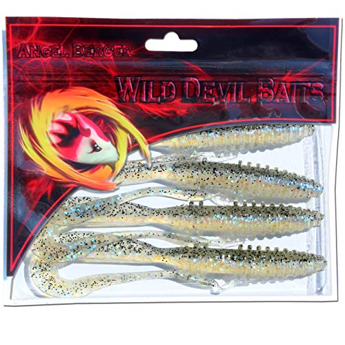 Angel-Berger Wild Devil Baits Tornado Gummifisch Twister Softbait Shad Gimmiköder (Electric Blue, 14cm) von Angel-Berger