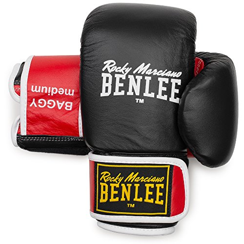 BENLEE Rocky Marciano Unisex – Erwachsene Baggy Leather Bag Mitts, Black/Red, L von BENLEE Rocky Marciano