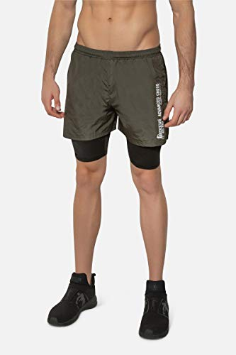 BOXEUR DES RUES - Double Shorts In Army Green with Contrast Stripes, Man von BOXEUR DES RUES