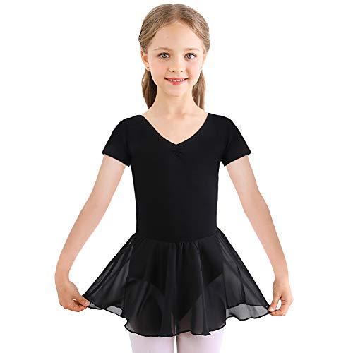 FEESHOW Kinder M/ädchen Eislaufkleid Gl/änzender Tanz Kleid Ballett Trikotanzug mit Tutu Rock f/ür Wettbewerb Performance