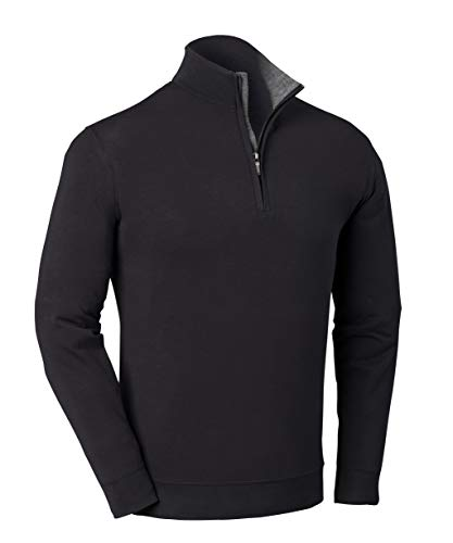 Bobby Jones Liquid Cotton Stretch Golf Pullover - Herren 1/4 Zip Pullover Golf Bekleidung Small Schwarz von Bobby Jones