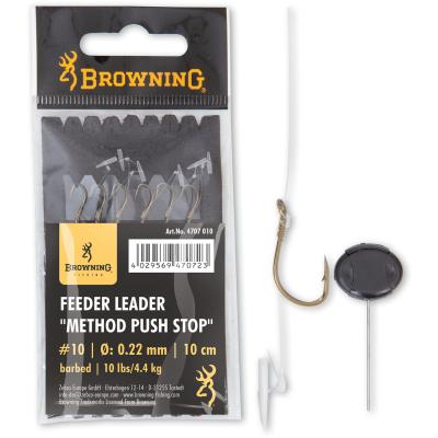 10 Feeder Leader Method Push Stop bronze 10lbs,4,5kg 0,22mm 10cm 6Stück von Browning
