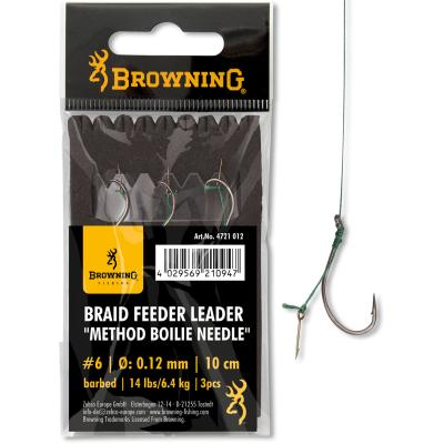6 Braid Feeder Leader Method Boilie Needle bronze 6,4kg 0,12mm 10cm 3St von Browning