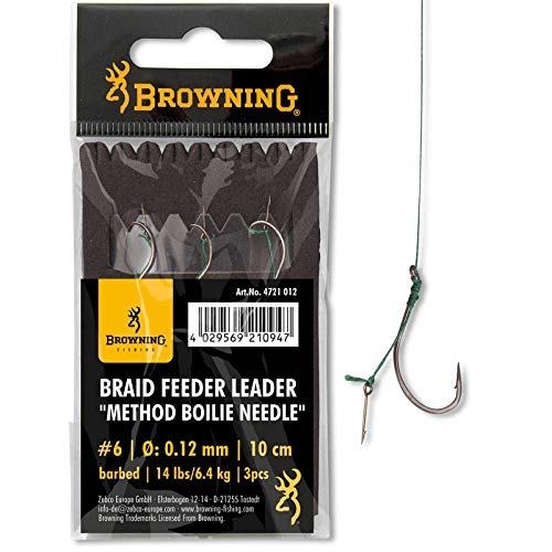 Browning #4 Braid Feeder Leader Method Boilie Needle Bronze 7,3kg,16lbs 0,14mm 10cm 3Stück, von Browning