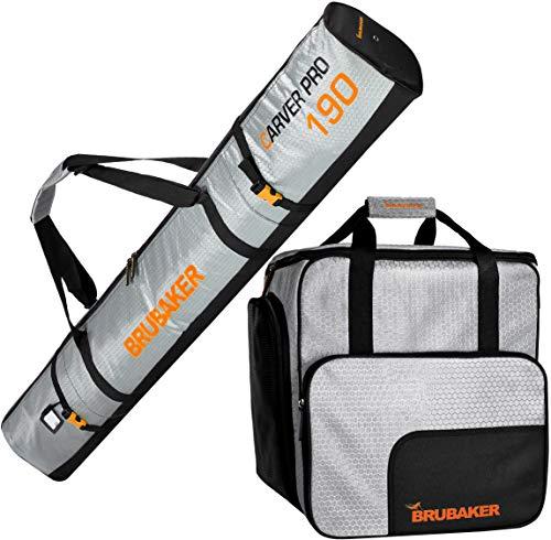 9b97f9427af43 Brubaker Kombi Set CarverTec Pro - Skisack und Skischuhtasche für 1 Paar  Ski + Stöcke + Schuhe + Helm - Silber Orange - 190 cm