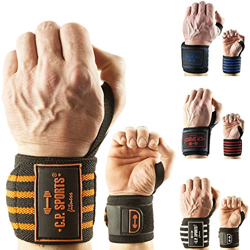 C.P. Sports Strongman-Handgelenkbandagen 50cm - orange von C.P.Sports