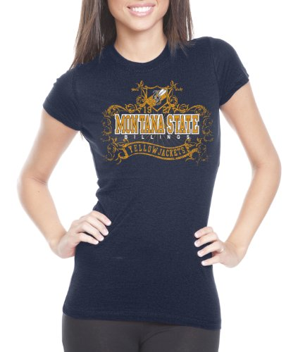 CI Sport NCAA Montana State Billings Yellowjackets Damen Prius2 Long Body Classic T-Shirt, Damen, Navy, Medium von CI Sport