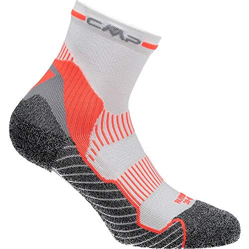 CMP Herren Running Top Mid Socks 30I9827, Bianco-F.Orange, 43/45 von CMP