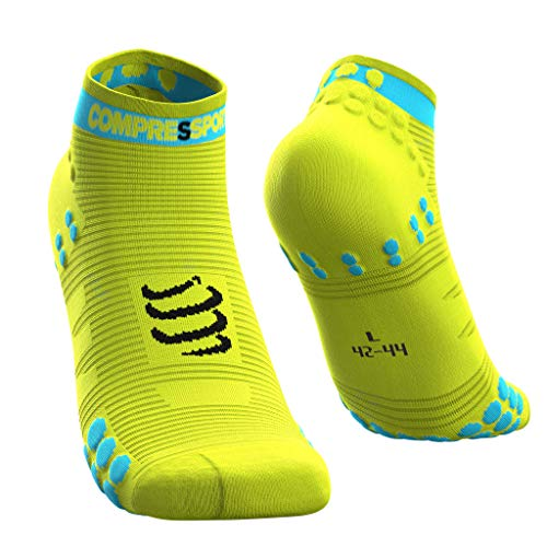 COMPRESSPORT PRO Racing Socks v3.0 Run Low, Herren Unisex, PRSV3-RL, Jaune Fluo, T4 von COMPRESSPORT