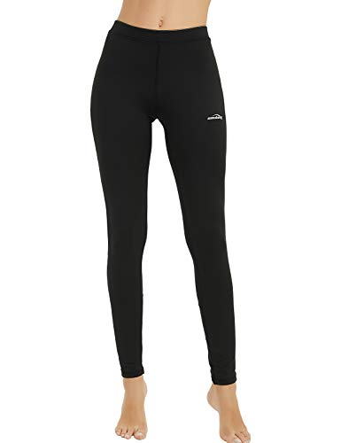 COOLOMG Damen Kompressionshose Funktionswäsche Base Layer Winter Thermowäsche Sporthose Fitness Joggen Schwarz L von COOLOMG