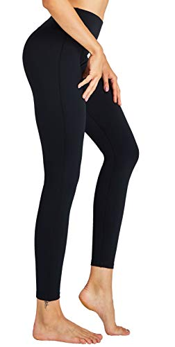 COOLOMG Damen Sport Leggings Yoga Training Fitnesshose Schwarz XL von COOLOMG