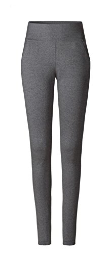 CURARE Damen Leggings Pockets Hose, anthrazit-Melange, L von CURARE