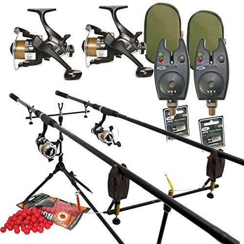 Full Carp Fishing Set Up Rods Reels Bite Alarms Rodpod PLUS 4 PACKS OF BOILIES by Carp-Corner von Carp-Corner
