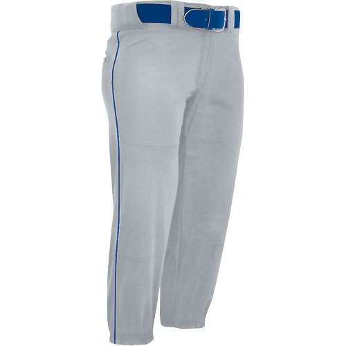 Champro Women's Sports Performance Pants with Piping, Grey/Blue Pipe, X-Large von Champro