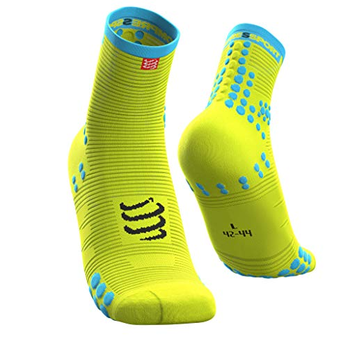 Compressport Herren Racing Sock High Flou Yellow T2 Kompressions Laufsocke, Neongelb, 2 von COMPRESSPORT