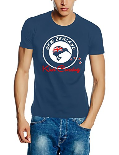 Coole-Fun-T-Shirts New Zealand NEU Kiwi Crossing NEUSEELAND Tshirt-Stoneblue GR.XL von Coole-Fun-T-Shirts