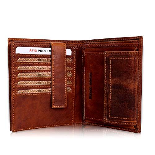 d34695818bd59 Geldbörse Herren Leder mit TÜV-zertifiziertem RFID Schutz Portemonnaie  Brieftasche Portmonee Vintage Geldbeutel mit Münzfach Wallet in  Geschenk-Box ...
