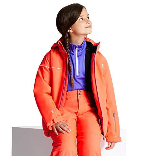 Dare 2b Kinder Entail Waterproof & Breathable High Loft Insulated Foldaway Hooded Ski & Snowboard Jacket with Snowskirt and Reflective Detail wasserdichte, isolierte Jacken, Fiery Coral, 3-4 von Dare 2b