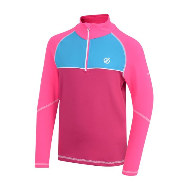 dare2b Formate Core Stretch Kinder Half-Zip Fleecepullover pink Gr. 128 Kinder von Dare2b