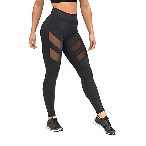Demarkt Mode Damen Leggings Mesh-Panel Seite Hohe Taille Workout Yoga Hosen Sportleggings Netz Sportlich Hose von Demarkt