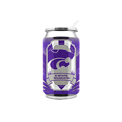 Duck House NCAA Kansas State Wild Cats Thermokanne, doppelwandig, Edelstahl, 453 ml, Unisex, 11oz Double Wall Stainless Steel Thermocan, weiß, 11Ounce von Duck House