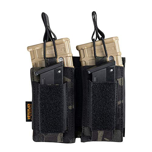 EXCELLENT ELITE SPANKER Open Top Single/Double/Triple Mag Pouch für M4 M16 AK AR Magazine und Pistol Mag Pouch(Double-Multicam Black) von EXCELLENT ELITE SPANKER