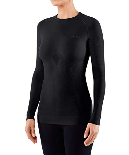 FALKE Damen, Largeangarmshirt Maximum Warm long sleeve close fit Funktionsfaser, 1 er Pack, Smallchwarz (Black 3000), Large von FALKE