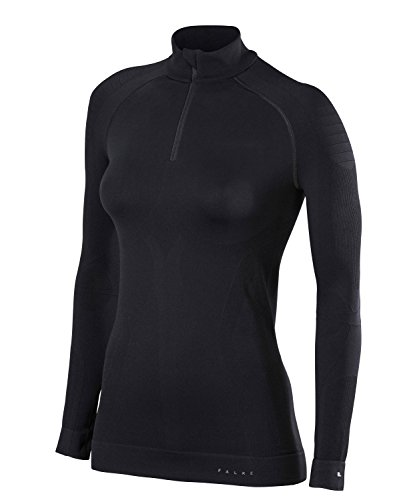FALKE Damen Unterwäsche Maximum Warm Zip Shirt Tight, Black, S von FALKE