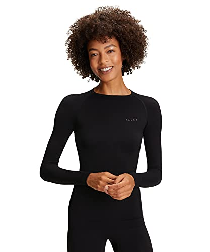 FALKE Damen Warm Tight Fit W LS SH Langarmshirt, Schwarz (Black 3000), L von FALKE