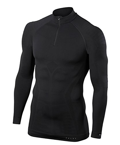 FALKE Herren Unterwäsche Maximum Warm Zip Shirt Tight, Black, XXL von FALKE