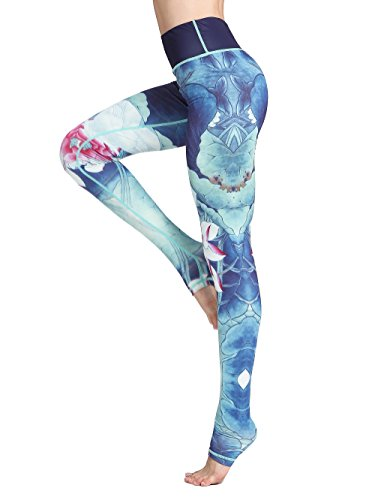 FLYILY Schöne Printed Sport Leggings Damen Sporthose Fitnesshose Yoga Leggings Sporthosen für Damen (Blue, L/Fit for Waist 71-75CM) von FLYILY