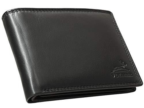ccd88d84d6005 Volmer ® Schwarze Herren Ledergeldbörse aus echtem Leder Querformat mit  RFID-Schutz  VO15