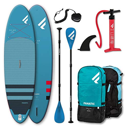 Fanatic Fly Air Pure Inflatable SUP 10.4 Stand up Paddle Board mit Pure Paddel 315cm von Fanatic