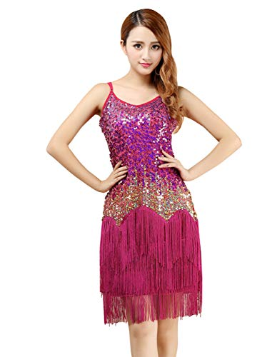 Feoya Latein Tanzkleid Damen Quaste Pailletten Kleid Ärmellos Party Mini Cocktail Flapper A-Linie Trägerkleid Cocktailkleid-Rosa von FEOYA