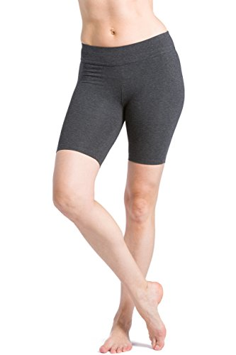 Fishers Finery Damen Yoga-Trainingshose, aus Öko-Stoff, mittlere Oberschenkel, Damen, Grau meliert, X-Small von Fishers Finery