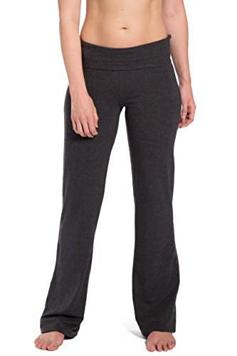 Fishers Finery Damen Ecofabric Fold Over Yoga Hose, Bootleg Athletic Hose, Damen, Grau meliert, X-Small von Fishers Finery