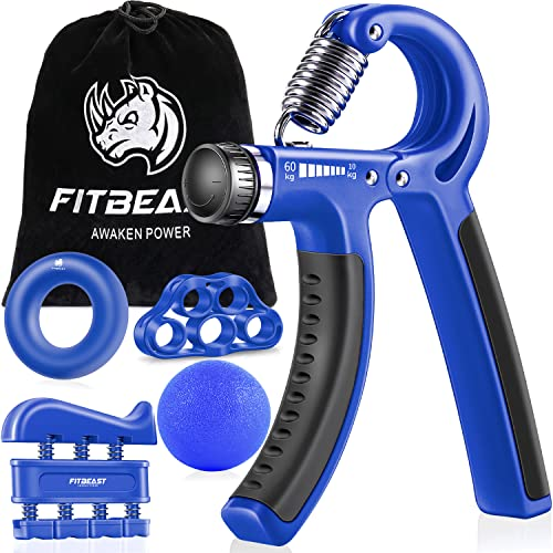 FitBeast Handtrainer zur Kraftsteigerung, Unterarmgriff Trainingsset - 5er-Pack, Verstellbarer Handtrainer, Finger Trainingsgerät, Fingerstretcher, Trainingsring & Stressabbau-Griffkugel für Sportler von FitBeast